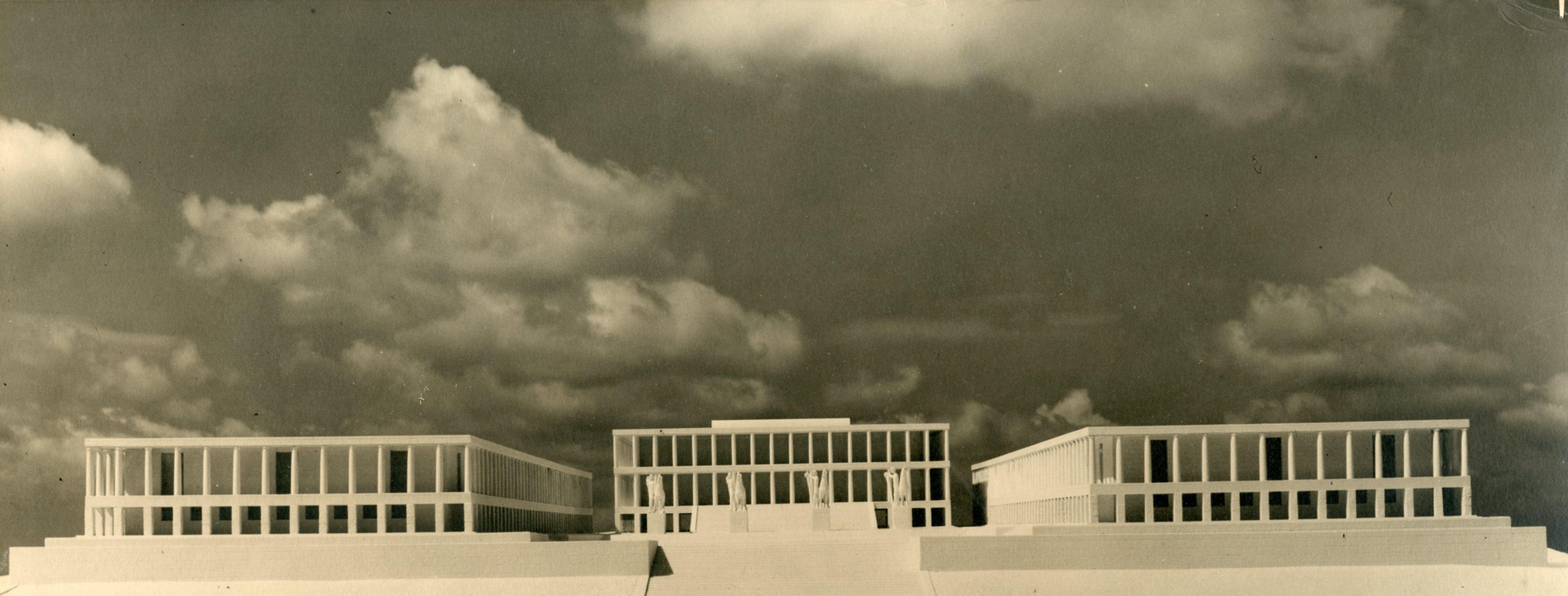 Piazza e edifici delle Comunicazioni e Trasporti (poi Mostra dell'autarchia, del corporativismo e della previdenza sociale) all'E.42, Roma (ora sede dell'Archivio Centrale dello Stato)