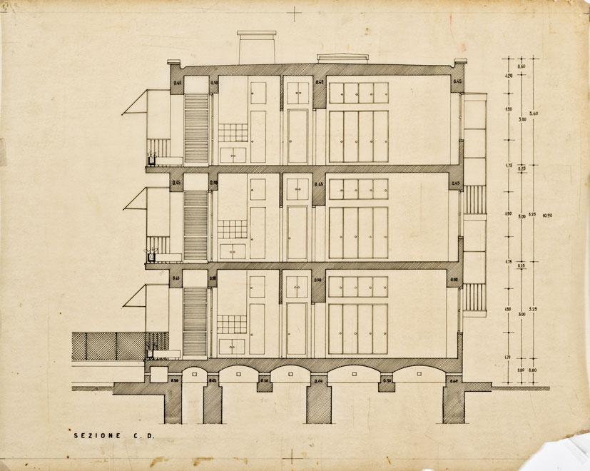 Concorso appalto per casette economiche di rapida costruzione.  Progetto di casetta tipo III B a tre piani per luoghi supersolati con alloggi di due e tre camere