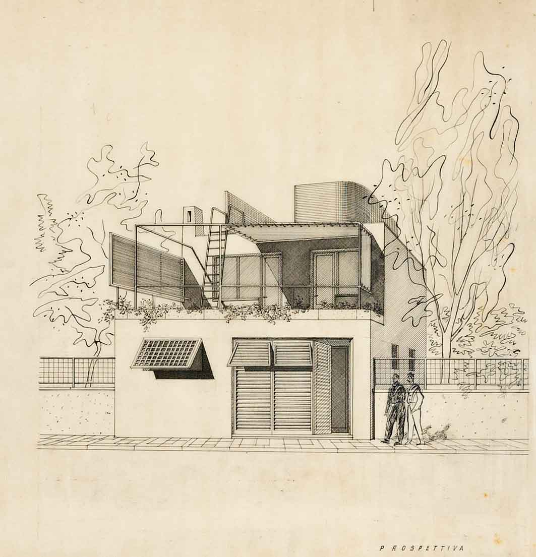 Progetto di ricostruzione di un villino distrutto per cause di guerra in via di Villa Adele, Anzio