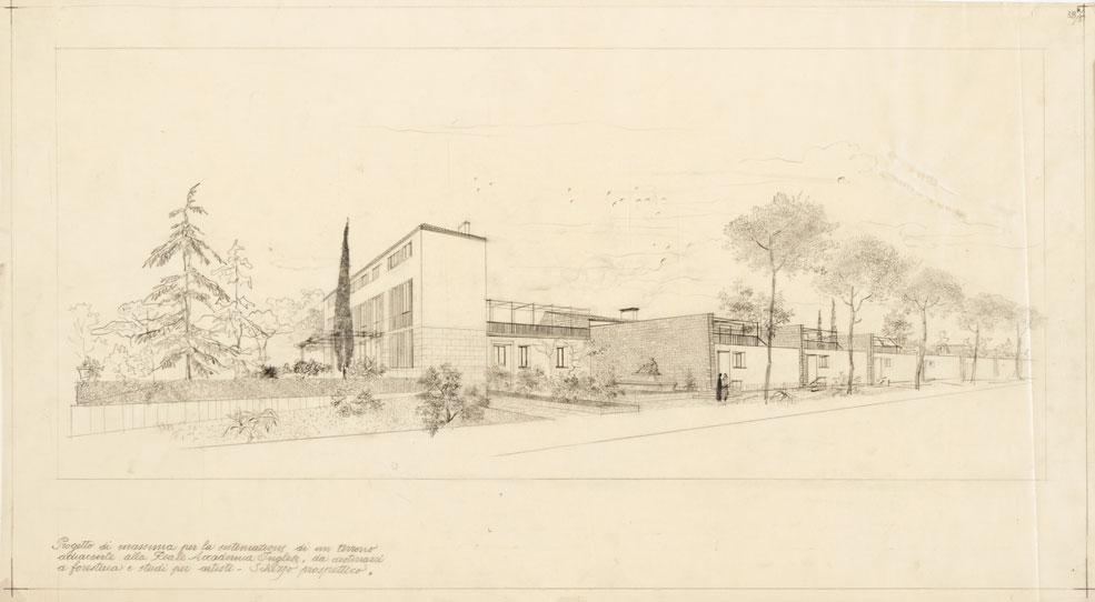 Progetto di foresteria e studi per artisti alla Reale Accademia Inglese di Valle Giulia, Roma