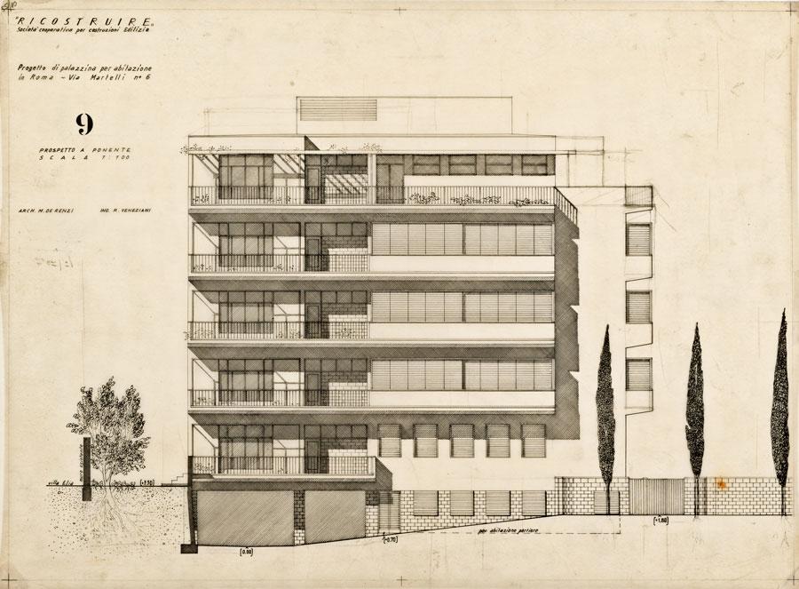 Progetto di palazzina d'abitazione signorile in via N. Martelli 6, Roma