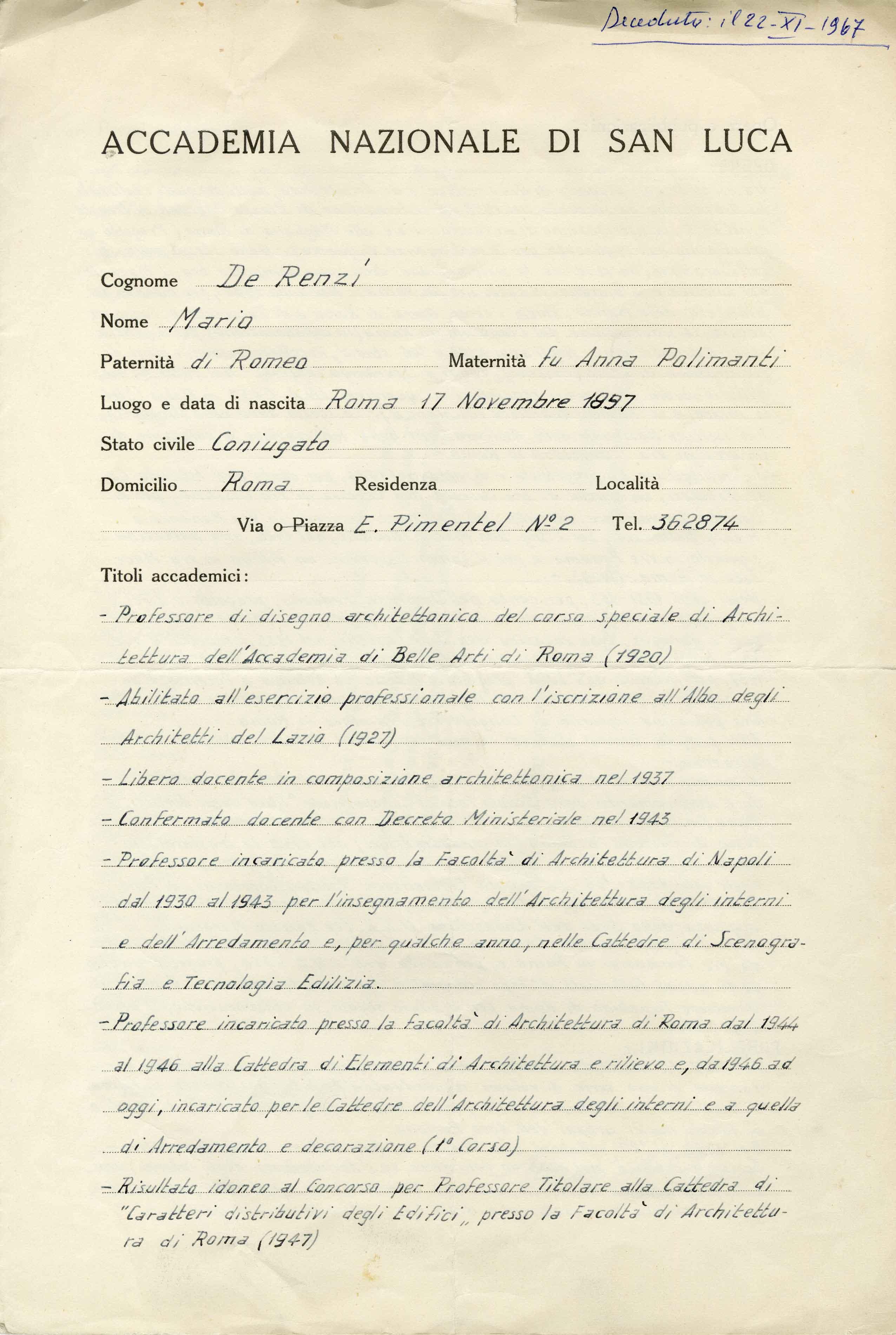 1951<br>Curriculum per l'Accademia Nazionale di San Luca